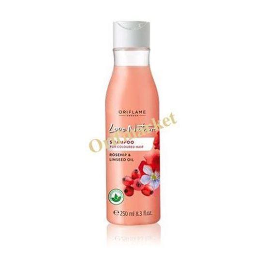 تصویر شامپو مخصوص موهای رنگ شده لاونیچر Love Nature Shampoo for Coloured Hair Rosehip & Linseed Oil