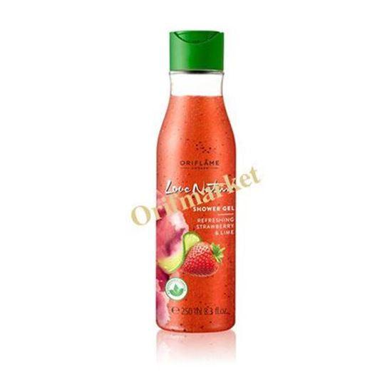 تصویر شامپو بدن حاوي عصاره ليمو و توت فرنگي Love Nature Exfoliating Shower Gel Refreshing Strawberry & Lime