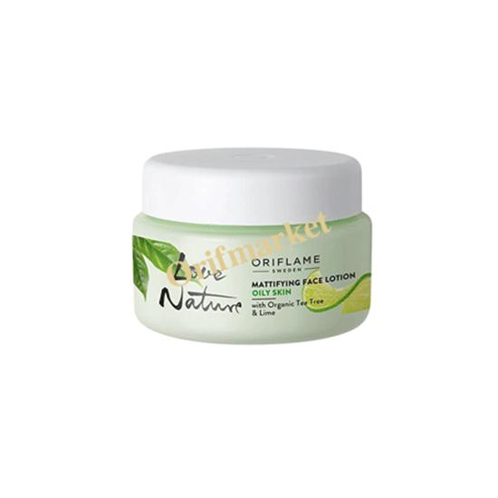 تصویر لوسیون آبرسان و مات کننده صورت با عصاره درخت چای و لیمو 🌿Love Nature Mattifying Face Lotion With Organic Tea Tree & Lime