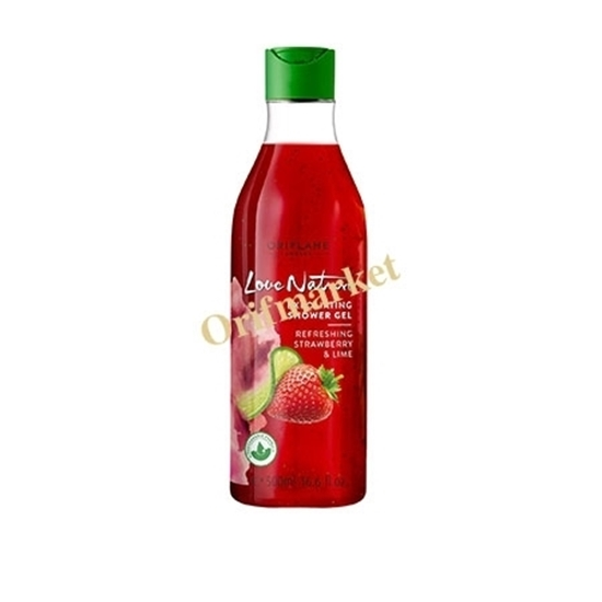 شامپو بدن لایه بردار تمشک و لیمو لاونیچر(5۰۰ میل) LOVE NATURE Exfoliating Shower Gel Refreshing Strawberry & Lime