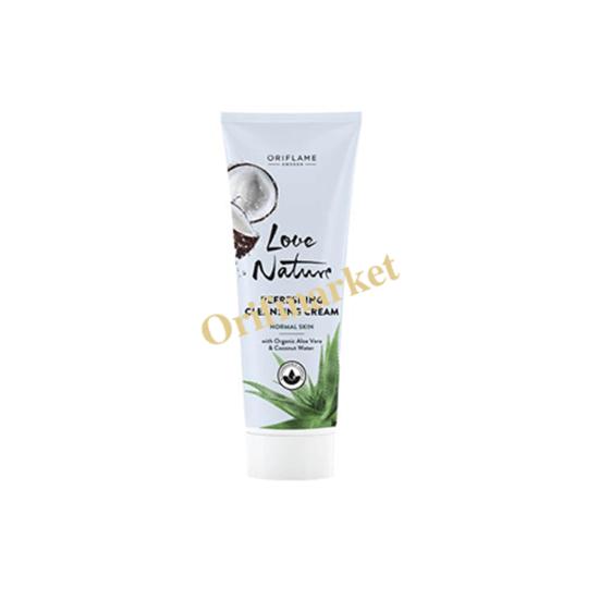 تصویر شوینده کرمی صورت با عصاره نارگیل و آلوورا Love Nature Refreshing Cleansing Cream with Organic Aloe Vera & Coconut Water